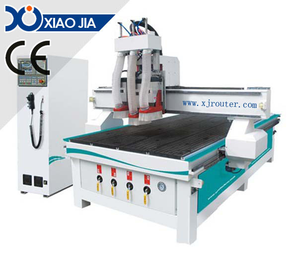 Wood making door CNC Router with 3 spindles XJ1530